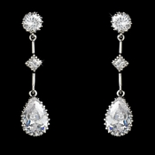 Glamorous Silver Clear CZ Dangle Earrings 3031