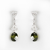 Gorgeous Silver Olive CZ Dangle Earrings 3628