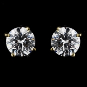 Cubic Zirconia Round Solataire Stud Earrig E 2521 (Gold or Silver)