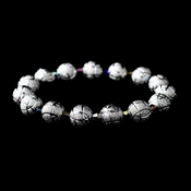* Silver Spheres and Amethyst AB Aurora Borealis Crystal Bracelet 8505