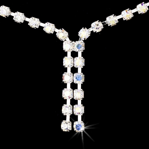 * Necklace Earring Set 70055 Silver AB *Only 4 left*