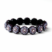 Glistening Four Tone Purple Crystal Stretch Bracelet 8543