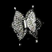 Silver Plated Hair Clip with Ivory Pearls & Sparkling Rhinestones 463
