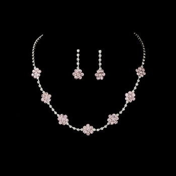 * Necklace Earring Set 70156 Silver Pink