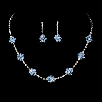* Necklace Earring Set 70156 Silver Light Blue