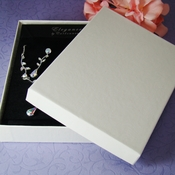 "White or Black Jewelry Presentation Box 5 1/4"" long x 3 3/4"" wide Cotton Filled"