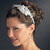 Floral Fabric & Crystal Side Accented Headband Headpiece 2292