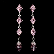 Elegant Silver & Pink Crystal Drop Earrings E 937