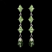 Elegant Silver & Green Crystal Drop Earrings E 937