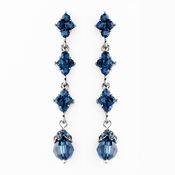 Elegant Silver & Navy Blue Crystal Drop Earrings E 937