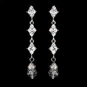 Elegant Silver & Clear Crystal Drop Earrings E 937