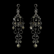 Antique Silver Black Crystal Chandelier Earrings 1028***Discontinued***