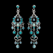 Antique Silver Turquoise AB Crystal Chandelier Earrings 1028**Discontinued***