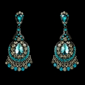 Teal Crystal Chandelier Earrings E 989