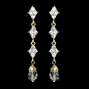 Elegant Gold & Clear Crystal Drop Earrings E 937
