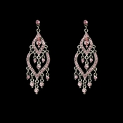 * Fabulous Silver Pink Rhinestone Chandelier Earrings 4329 * Discontinued *