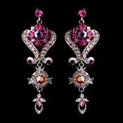 Silver Pink Multi Crystal Chandeleir Earrings 1031
