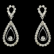 Stunning Silver Clear Crystal Double Loop Earrings 25249