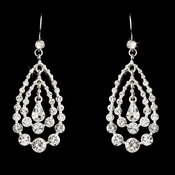Silver Clear Rhinestone Chandelier Earrings E 24802