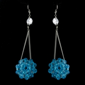 * Aqua Beaded Ball Earring Set 8551