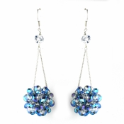 * Blue Aurora Borealis Beaded Ball Earring Set 8551
