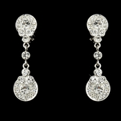 Silver Clear Crystal Clip On Bridal Earring E 25256
