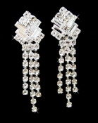 Clip On Rhinestone Dangle Earrings E-20009