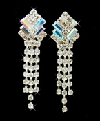 AB Aurora Crystal Dangle Clip On Earrings E 20009
