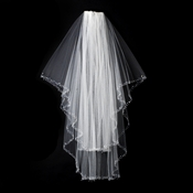 "Bridal Veil 131 E Ivory - Beaded Elbow Length (25"" x 30"")"