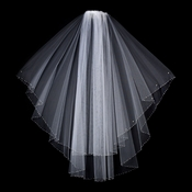 "Veil 2824 White - Fingertip Swarovski Crystal & Rhinestone Edge (30"" x 36""long)"