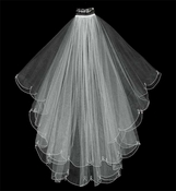 "Veil 2006 - Fingertip Veil with Crystal Drop Accents (30"" x 36"" long)"