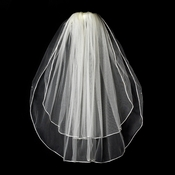 "VR E Ivory - *Shimmer Veiling* Rattail Satin Corded Edge, 2 Layers Elbow Length Veil (25"" x 30"" ..."