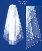 "Veil 2103 White or Ivory - Fingertip w/Crystal Asccents (30"" x 36"")"