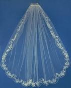 "Bridal Wedding Veil (42"" long x 72"" wide) Couture w/ elegant embroidery Veil 3286"