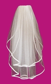 "Two Tier Veil with 3/8"" Wide Satin Ribbon Edge in Fingertip Length VS F 38"
