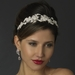 Antique Silver Clear & Rhinestone Flower and Leaf Double Side Accented Headband Headpiece 862