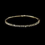 * Glamorous Gold Clear Rhinestone Single Adjustable Coil Chocker Bracelet 398