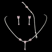 * Necklace Earring Bracelet Set 359 Silver Pink