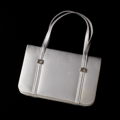 * Glamorous White Satin Rhinestone Buckle Evening Bag 209**Discontinued***