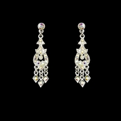 * Alluring Silver Chandelier Earrings w/ Aurora Borealis Rhinestones 2034