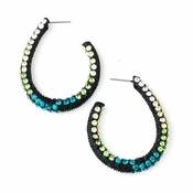 * Four Tone Green Mix on Black Hoop Earring Set 8542