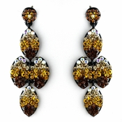 * Four Tone Topaz Mix on Black Earring Set 8541