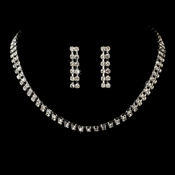 Double Strand Silver Clear Crystal Choker Jewelry Set NE 10024
