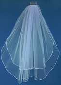 "Double Layer Fingertip Length Bridal Veil with a Satin Ribbon Edge  30"" and 36"" VS F"