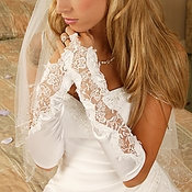 Designer Fingerless Embellished Bridal Glove - GL 9128 V 10A