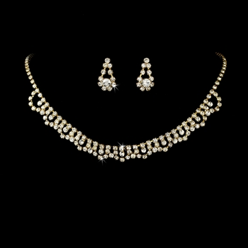 * Necklace Earring Set NE 519 Gold Clear ** Discontinued***