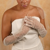 Sheer Bridal Glove with Scattered Pearls GL7002-12A