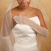 Sheer Rhinestone Bridal Glove GL7004-12A