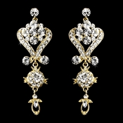 Beautiful Gold Clear Crystal Chandelier Earrings 1031***Discontinued****