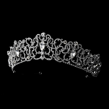 * Silver Clear Rhinestone Tiara Headpiece 9829***Irregular***